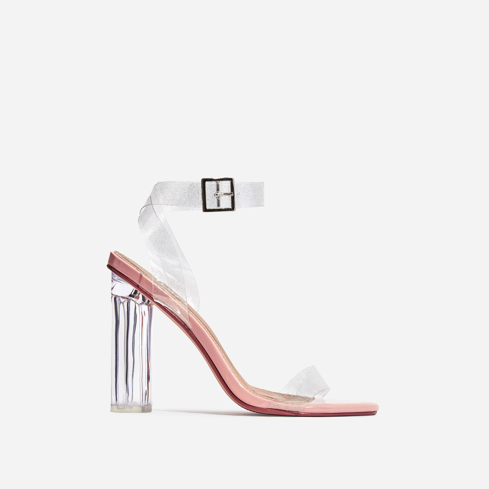 Topic Glitter Clear Perspex Barely There Block Heel In Nude Patent