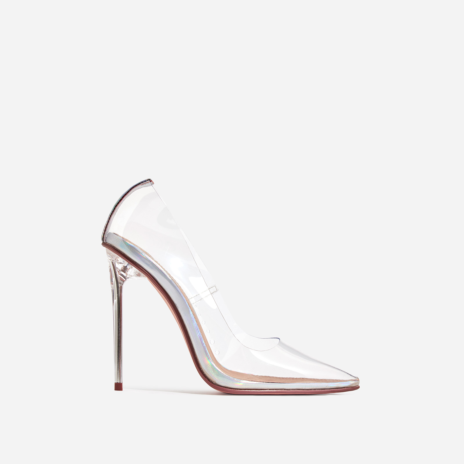 Farrah Perspex Court Heel In Silver Holographic Patent