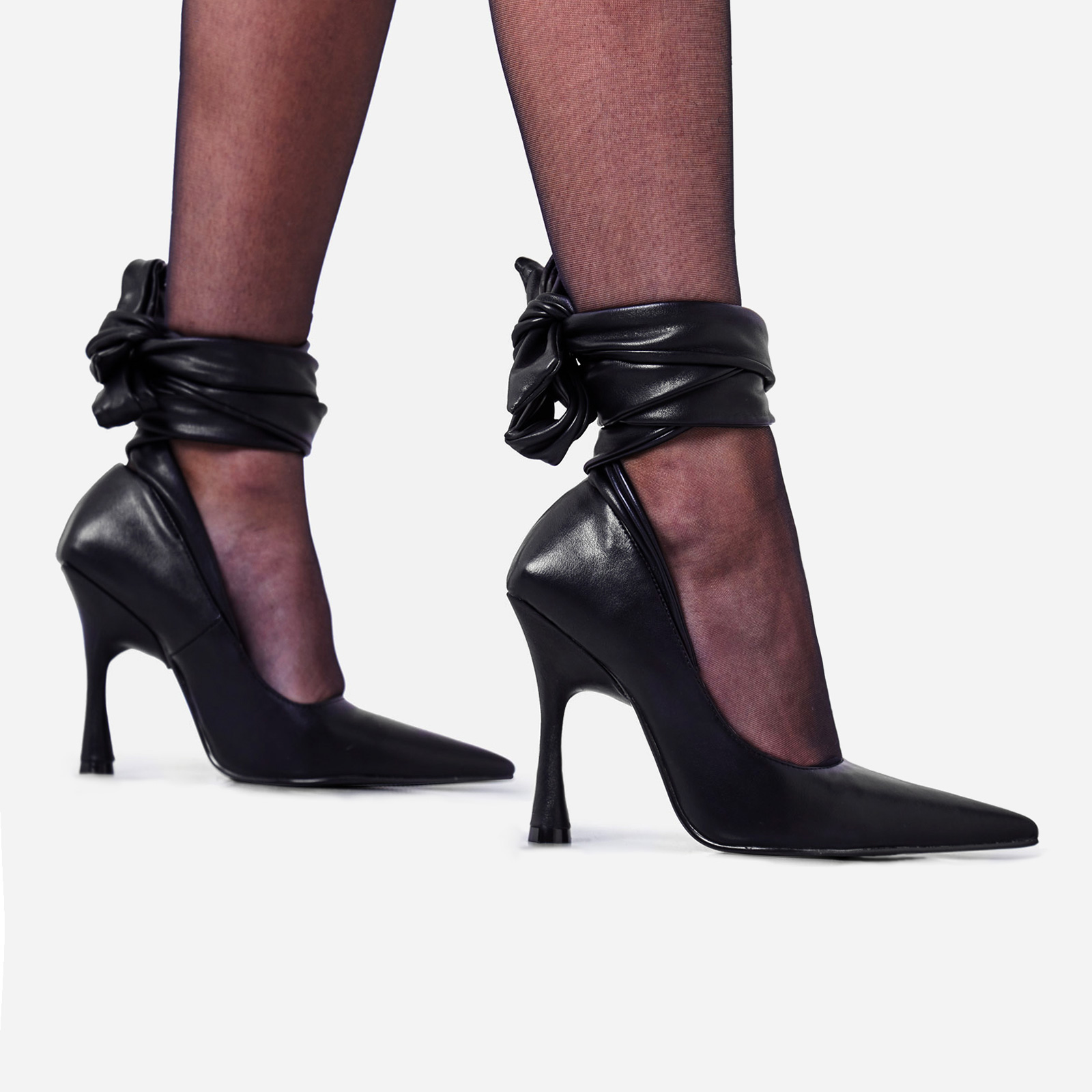 Balling Lace Up Pointed Court Heel In Black Faux Leather