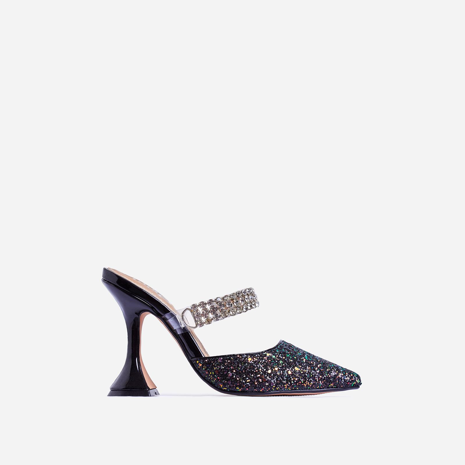Spice Diamante Detail Pyramid Heel Mule In Black Glitter