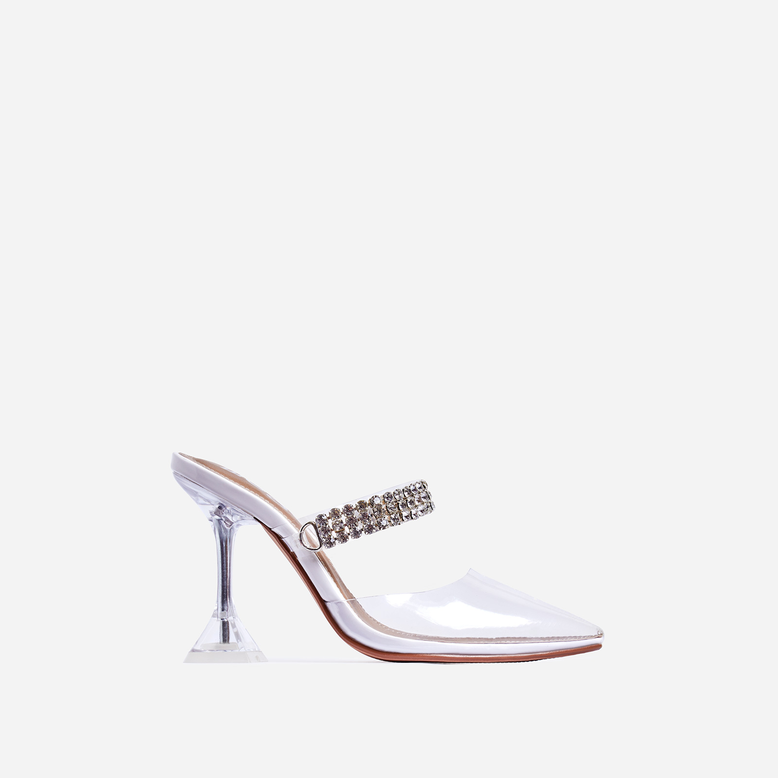 Spice Diamante Detail Perspex Pyramid Heel Mule In White Faux Leather