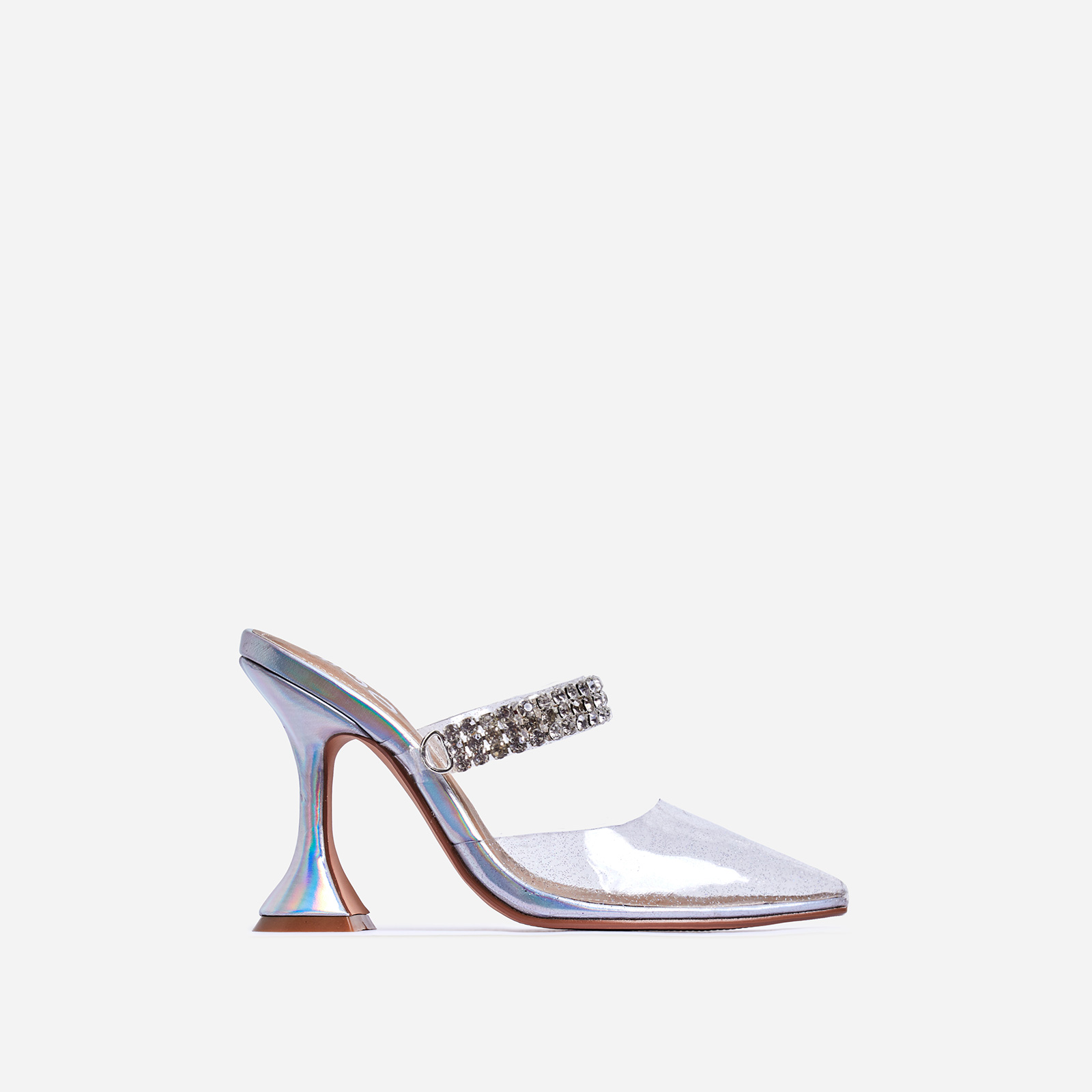 Spice Diamante Detail Perspex Pyramid Heel Mule In Silver Holographic Faux Leather