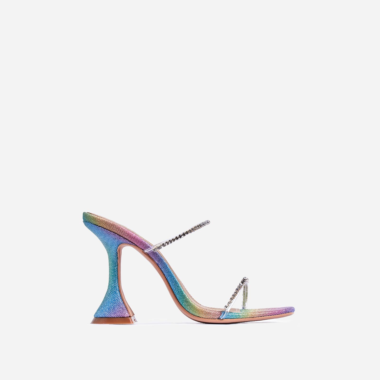 Dreams Diamante Detail Pyramid Heel Mule In Rainbow Print Glitter