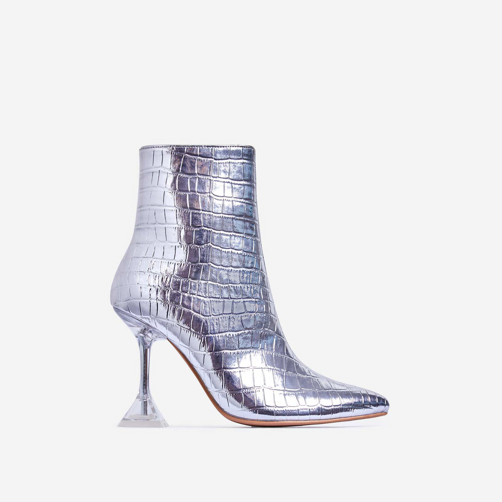 Bacardi Perspex Pyramid Heel Ankle Boot In Silver Croc Print Faux Leather