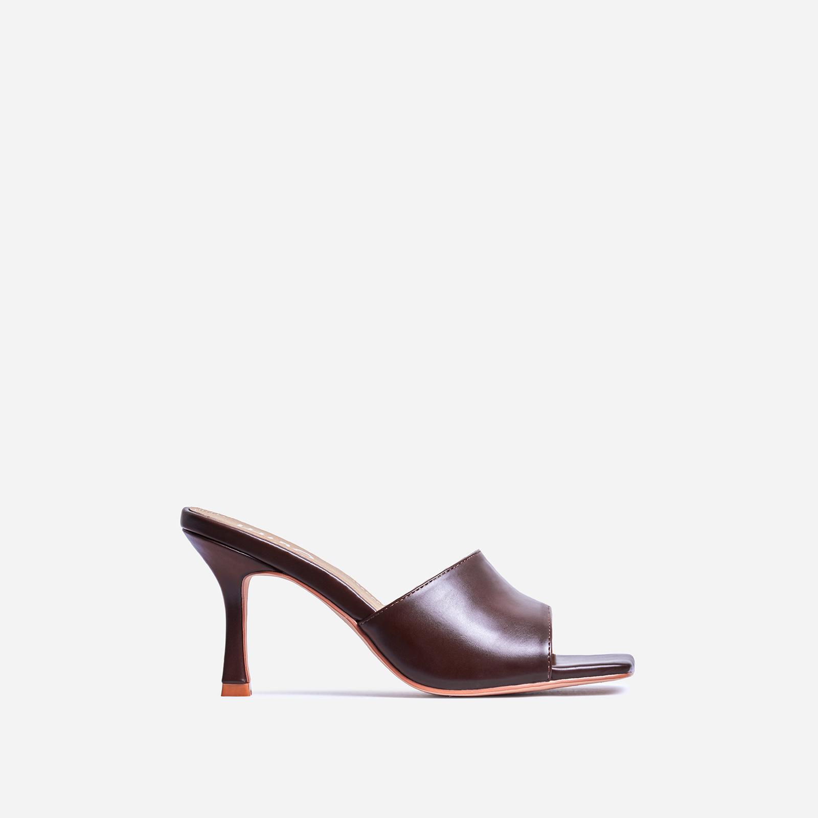Hilton Square Peep Toe Kitten Heel Mule In Brown Faux Leather