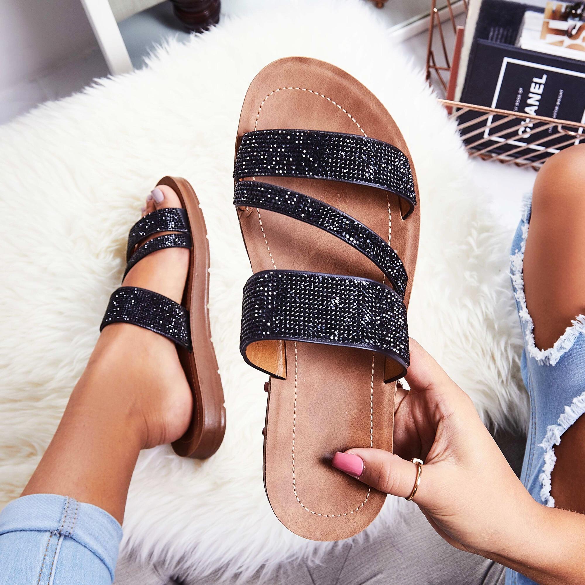 Metis Diamante Detail Slider In Black Faux Leather