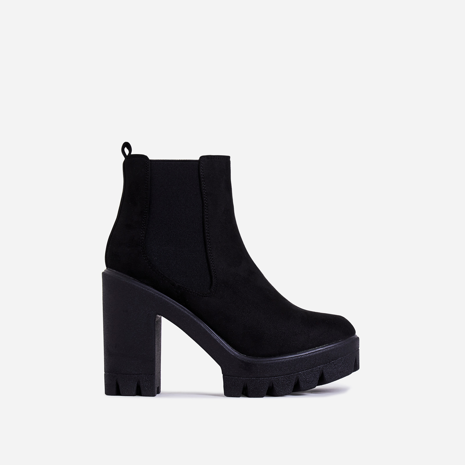 Liya Chunky Sole Ankle Chelsea Boot In Black Faux Suede