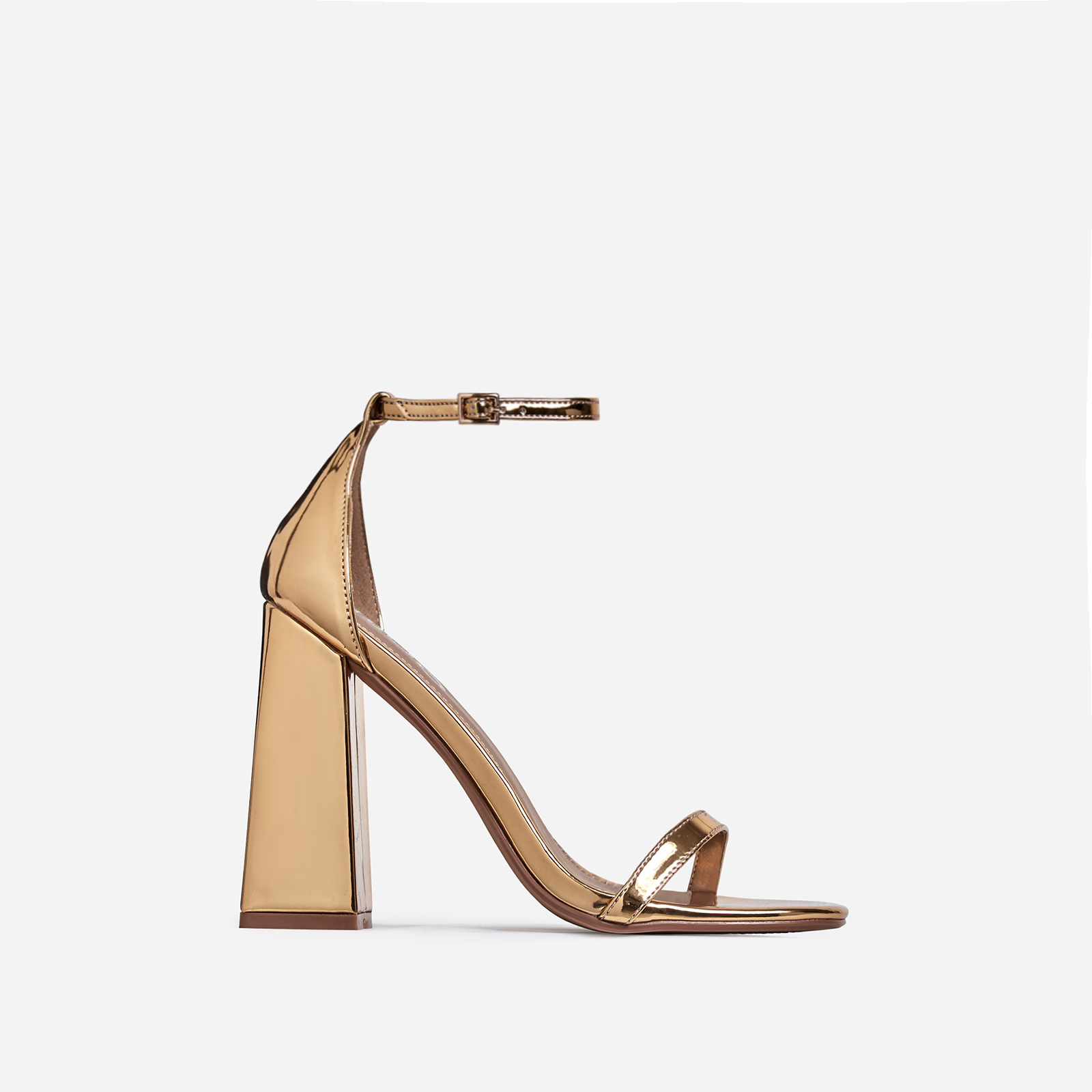 Atomic Square Block Heel In Gold Patent