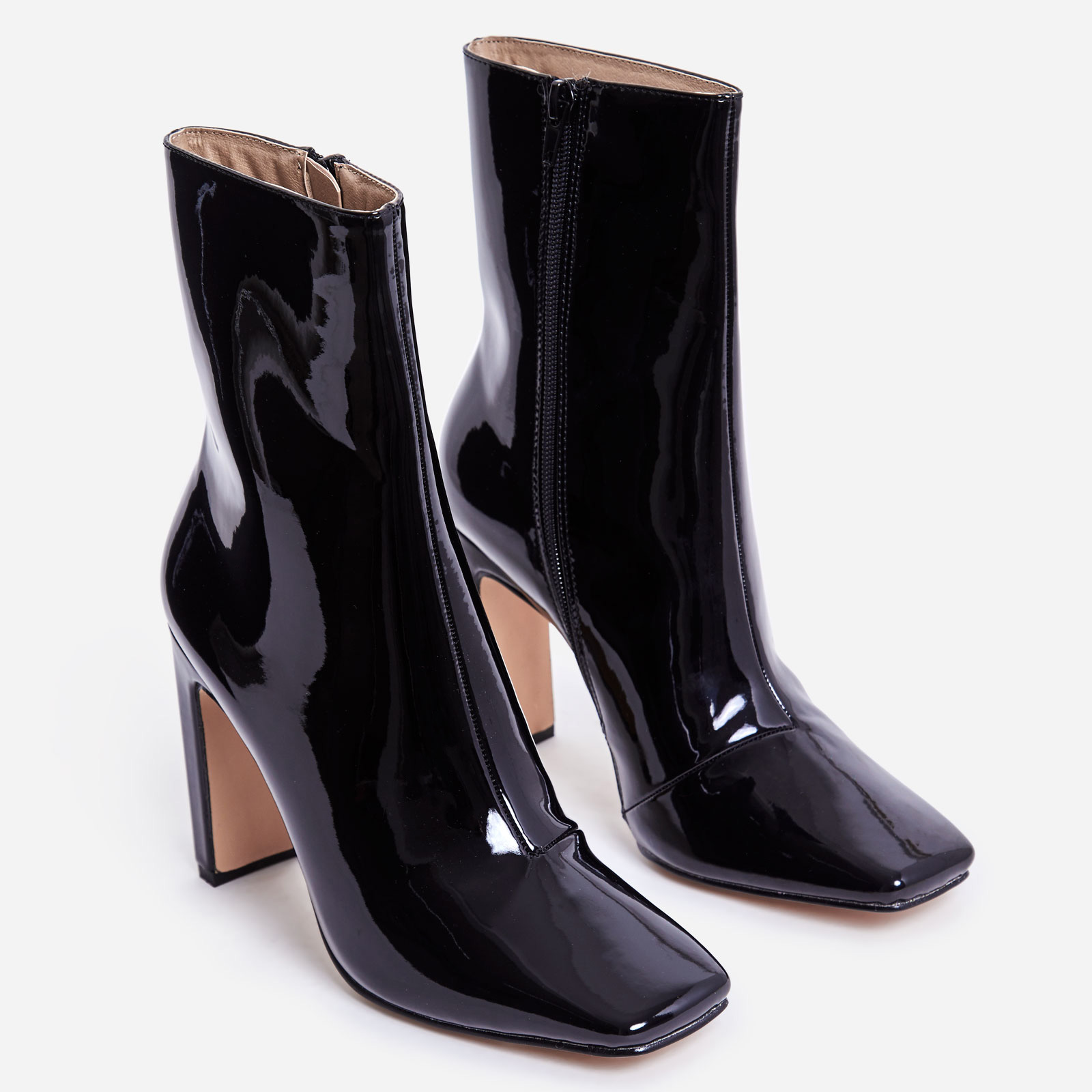 Klass Square Toe Thin Block Heel Ankle Boot In Black Patent