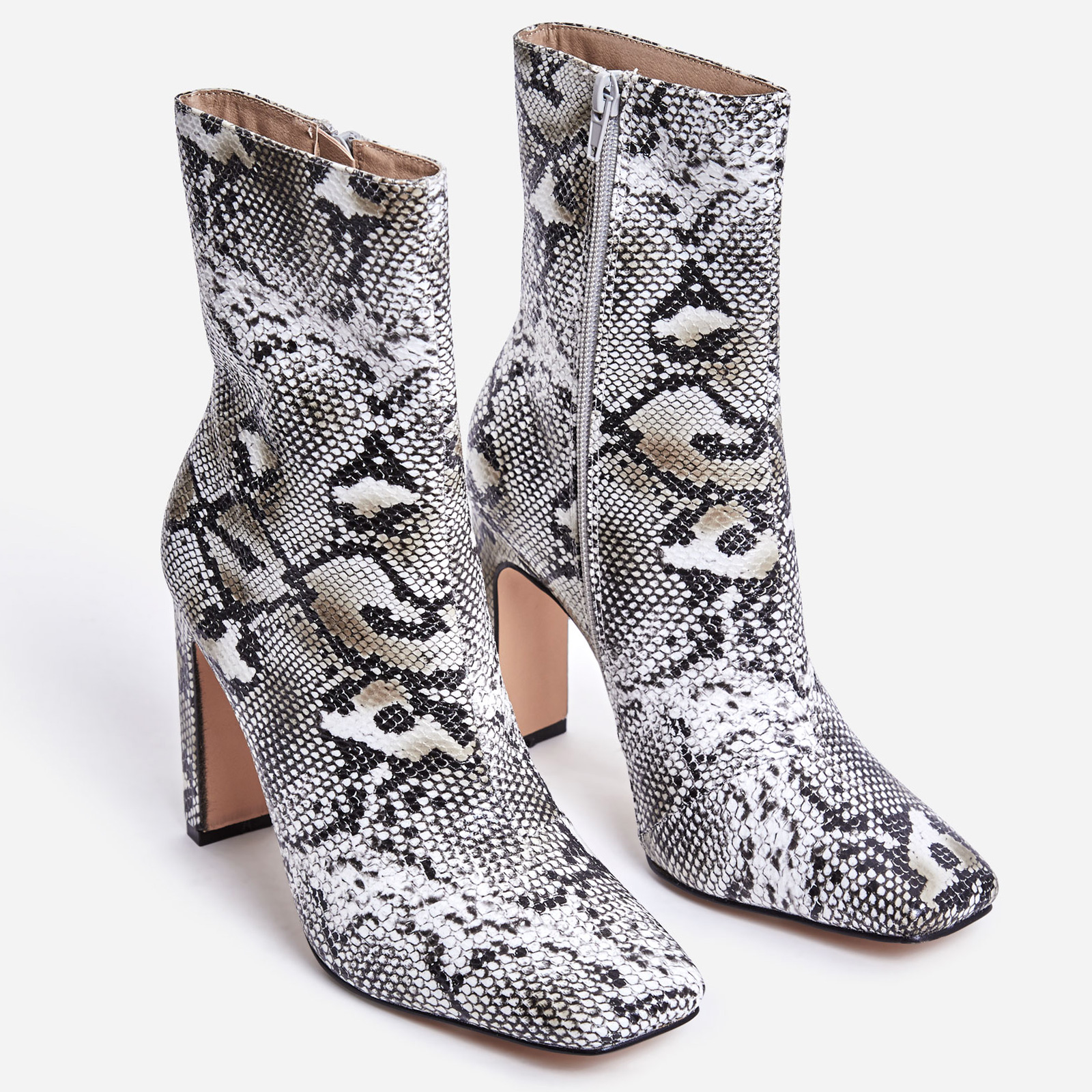 Klass Square Toe Thin Block Heel Ankle Boot In Nude Snake Print Faux Leather