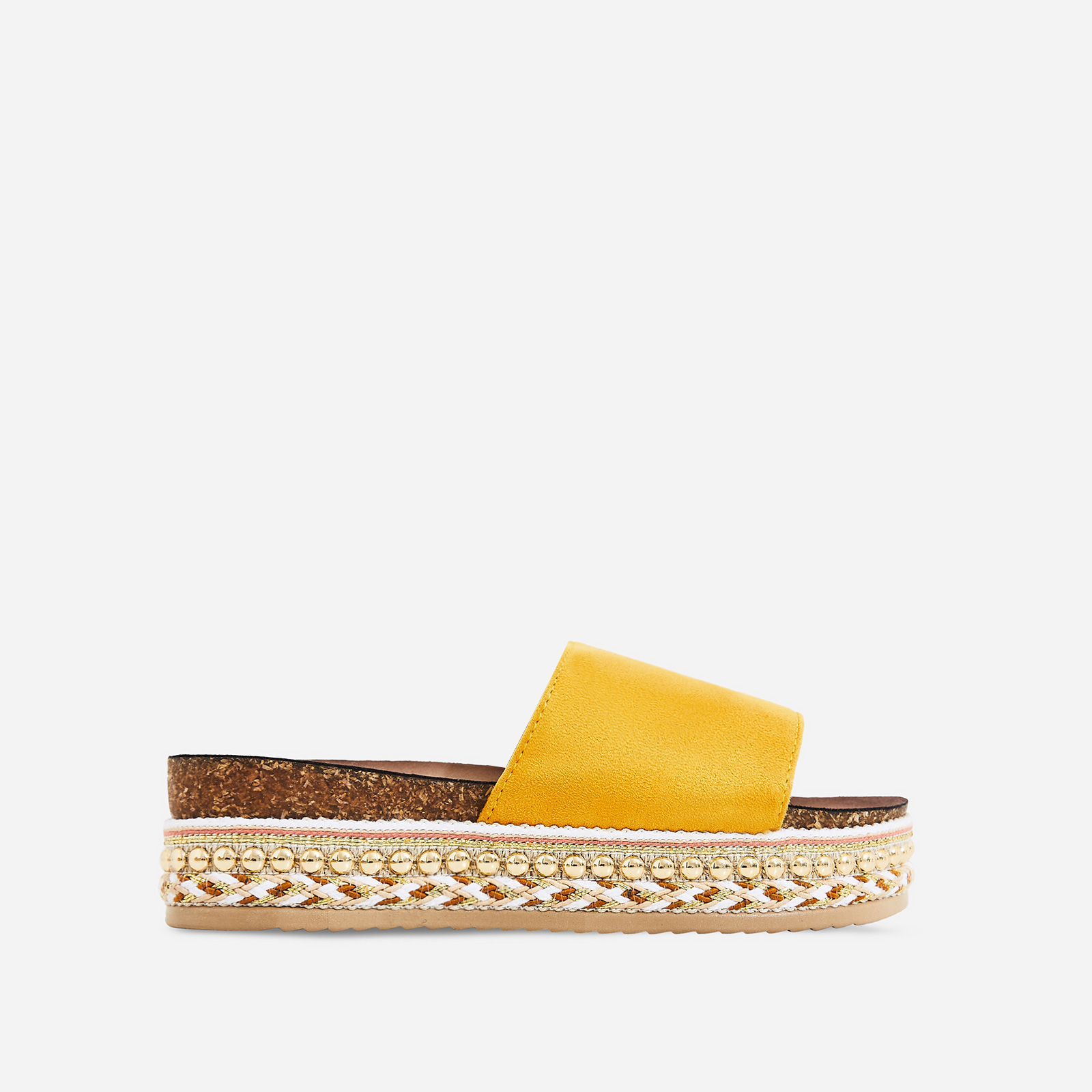 Tarvos Studded Detail Espadrille Sandal In Yellow Faux Suede