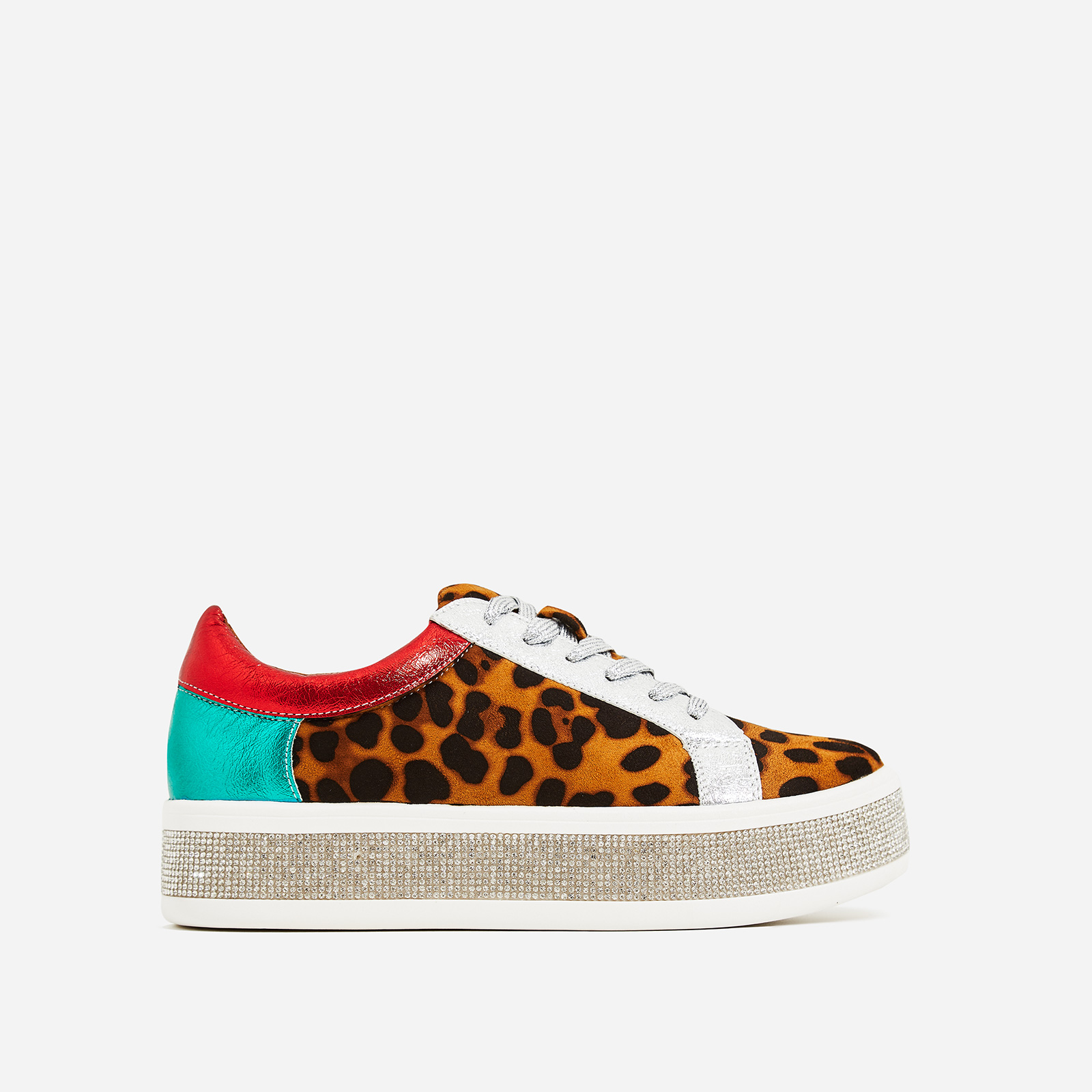 Kojo Platform Diamante Detail Trainers In Tan Leopard Print Faux Suede