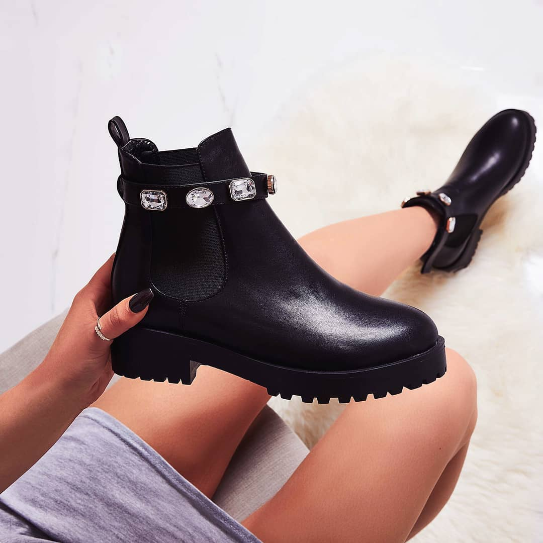 Gem Jewel Detail Strap Ankle Biker Boot In Black Faux Leather