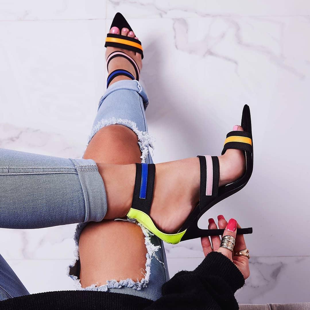Katrina Neon Elasticated Strap Pointed toe Heel In Black Faux Suede