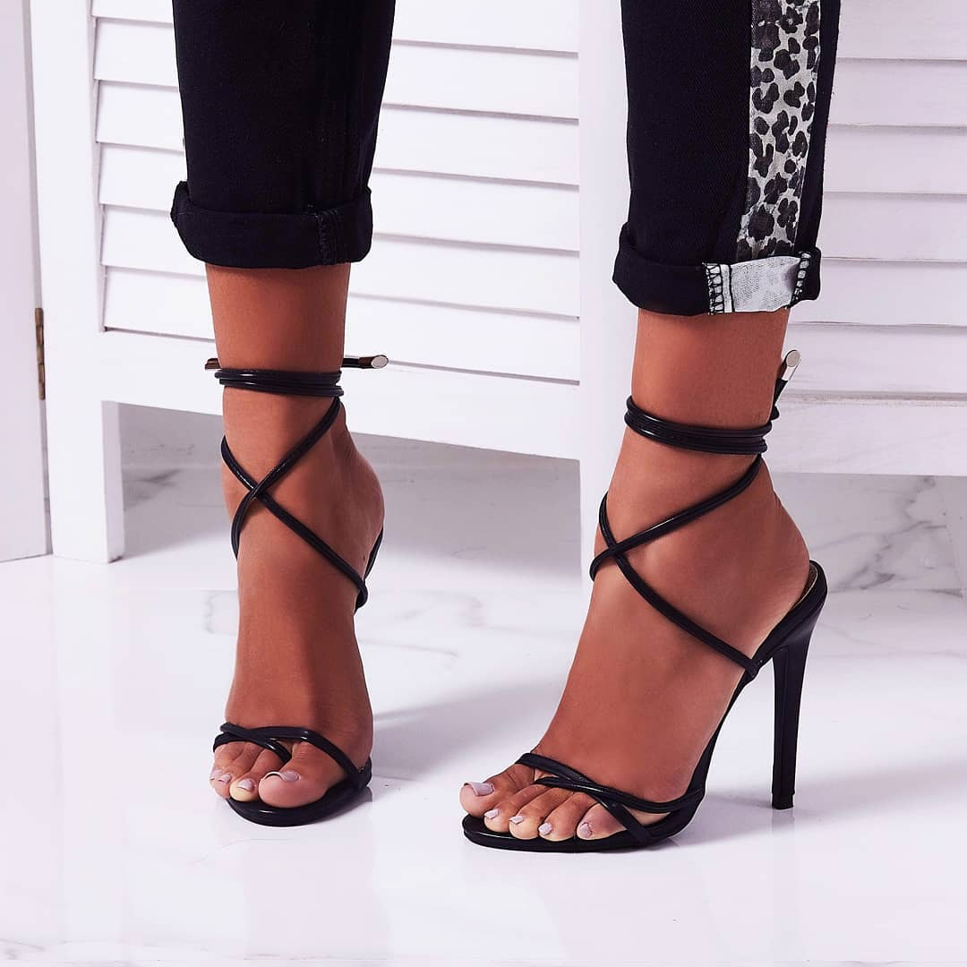 Rochelle Lace Up Barely There Heel In Black Faux Leather