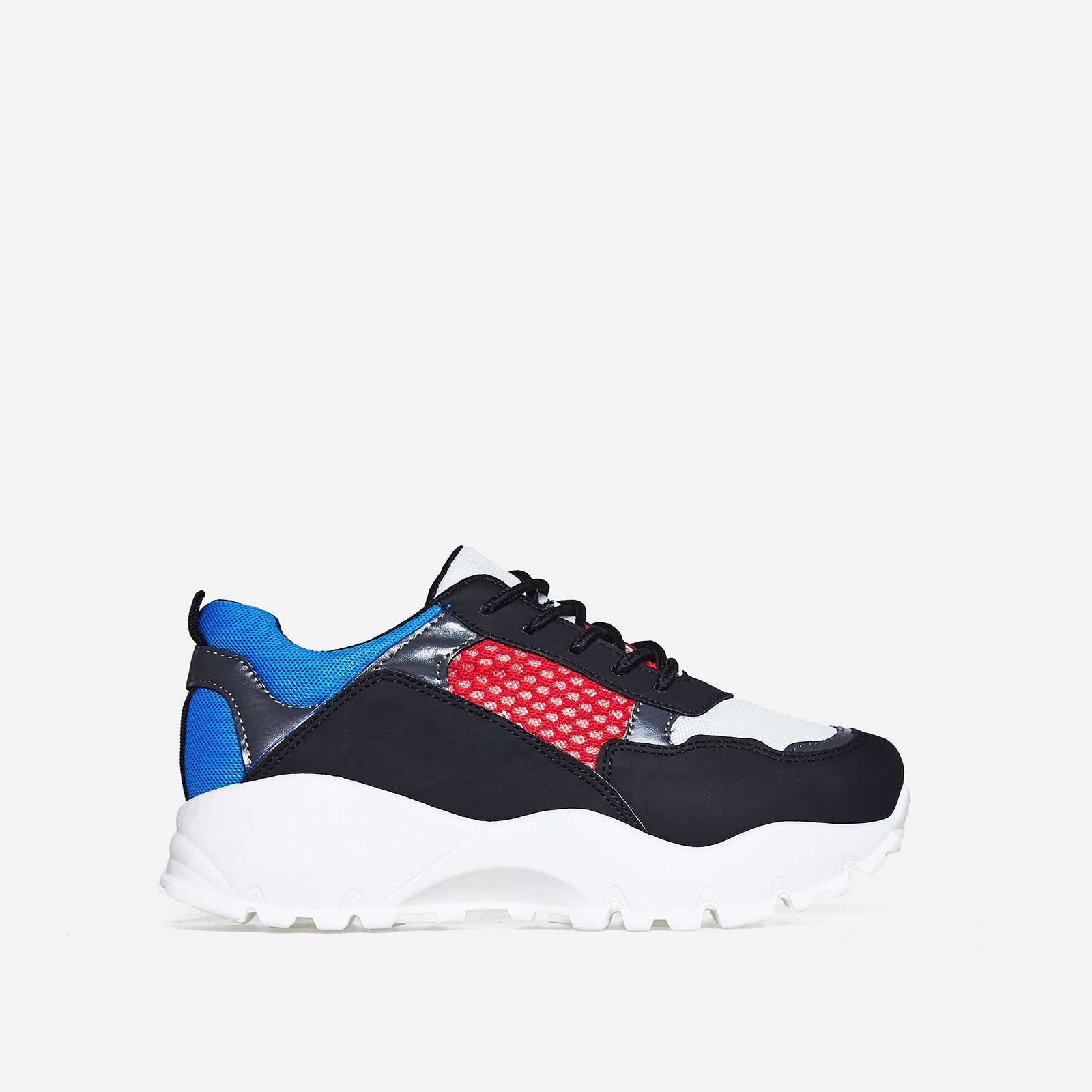 Elias Chunky Trainer In Black Faux Leather