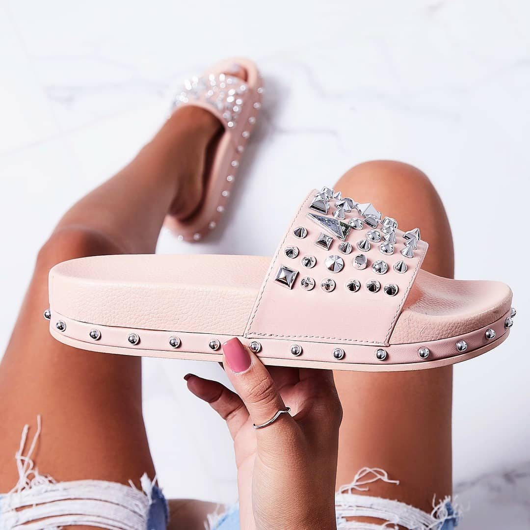Reco Studded Detail In Rubber Slider In Pink Faux Leather