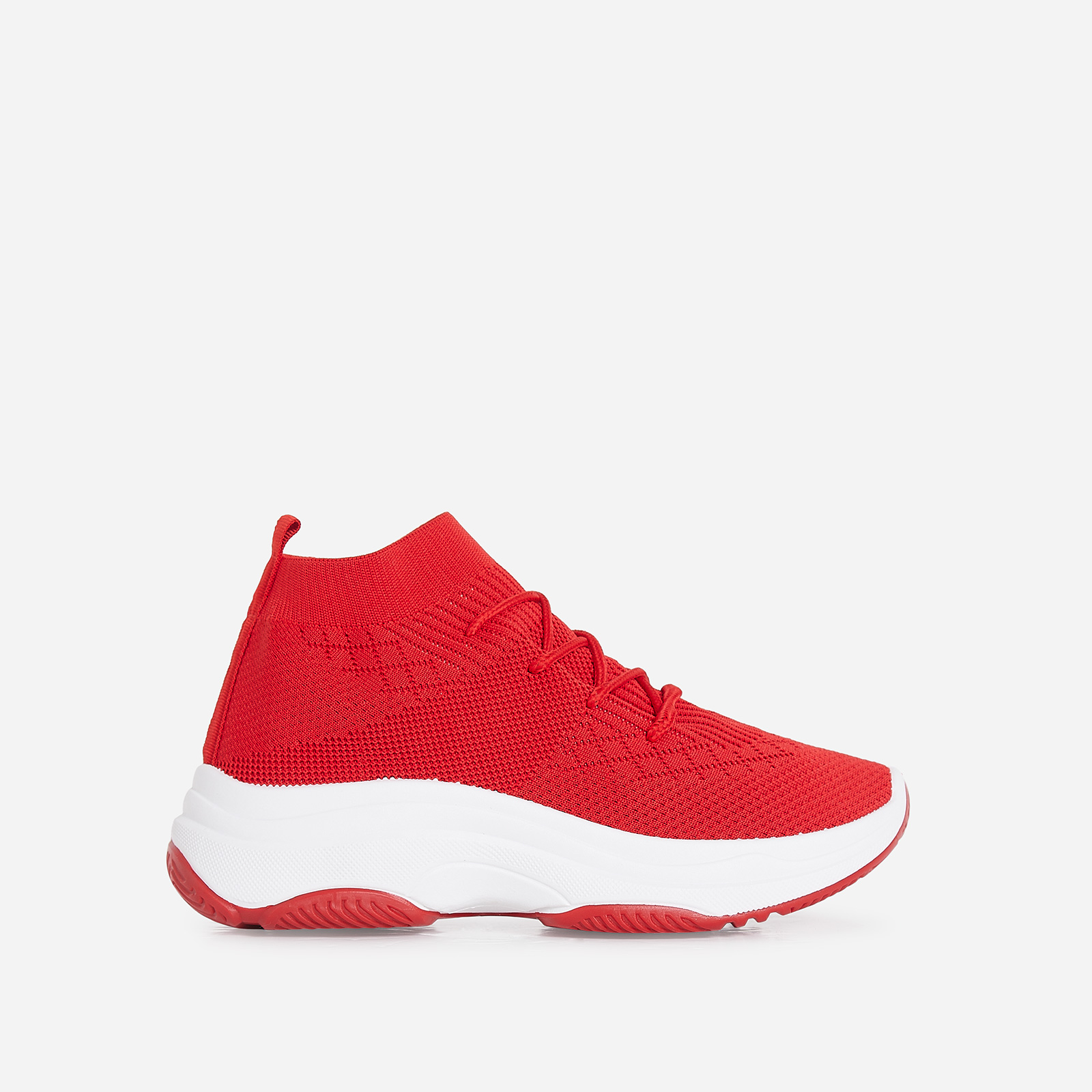 Dallas Chunky Sole Trainer In Red Knit