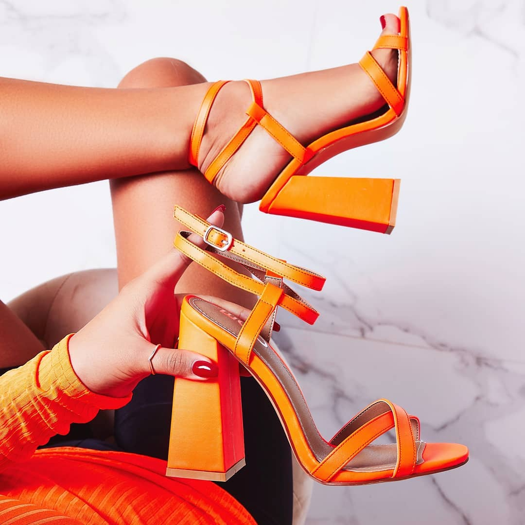Iris Flared Block Heel In Neon Orange Faux Leather