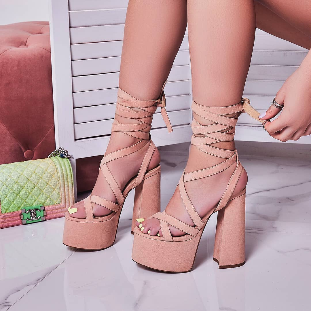 Harlow Lace Up Platform Heel In Blush Faux Suede