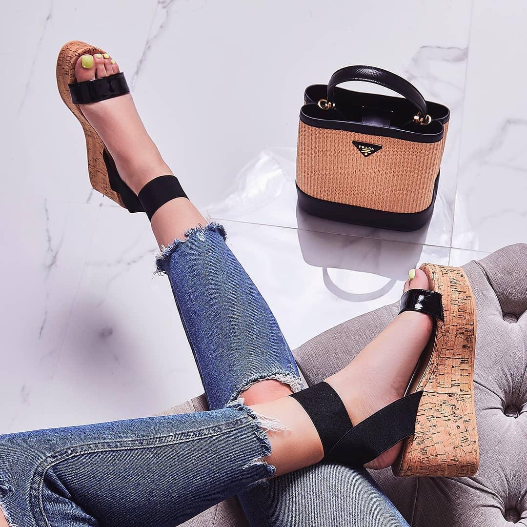 Andie Elasticated Wedge Sandal In Black Patent