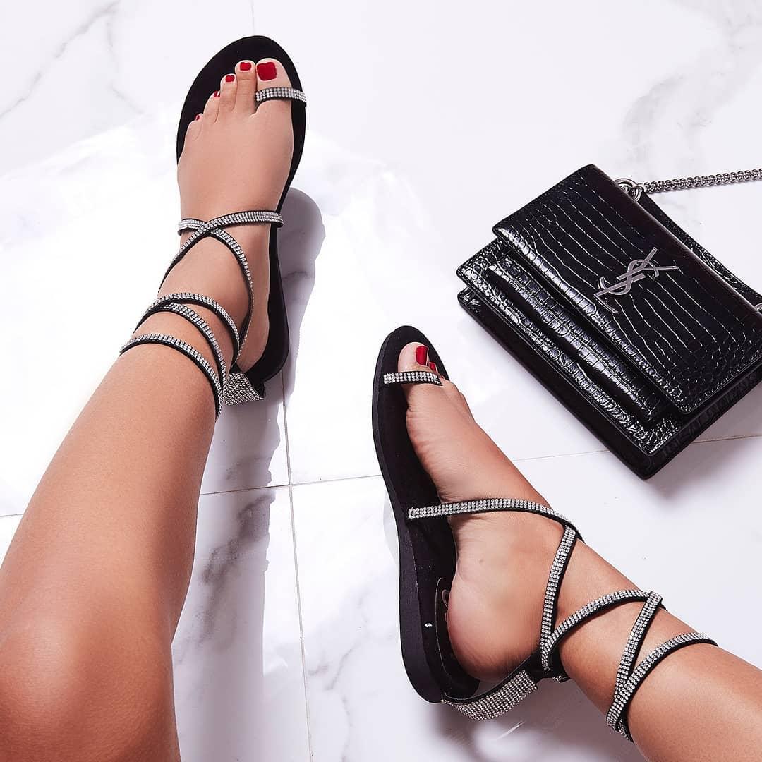 Carat Diamante Lace Up Toe Strap Gladiator Sandal In Black Faux Suede