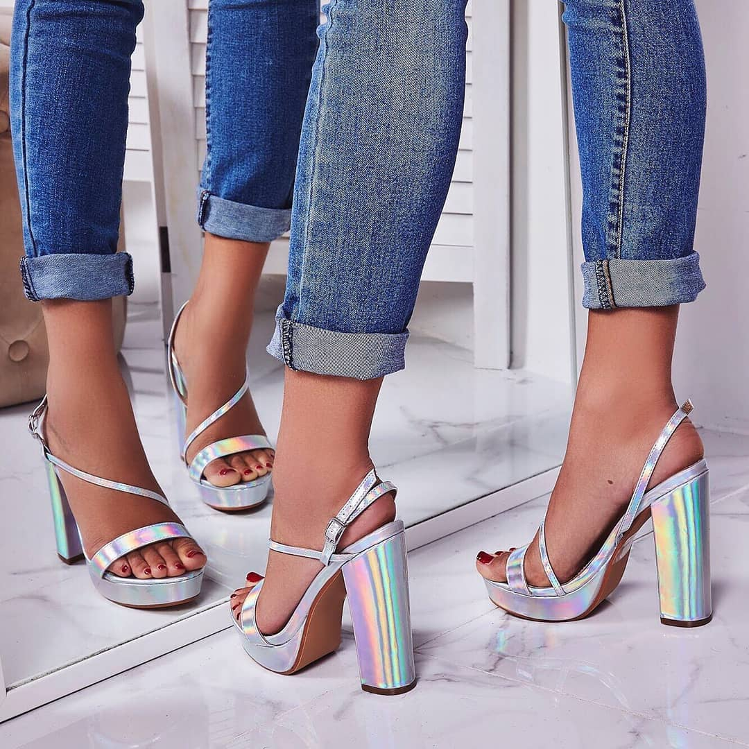 Fit Platform Heel In Metallic Silver Faux Leather
