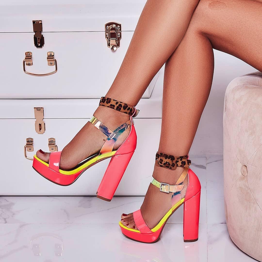 Moving Perspex Double Buckle Platform Heel In Neon Pink Patent