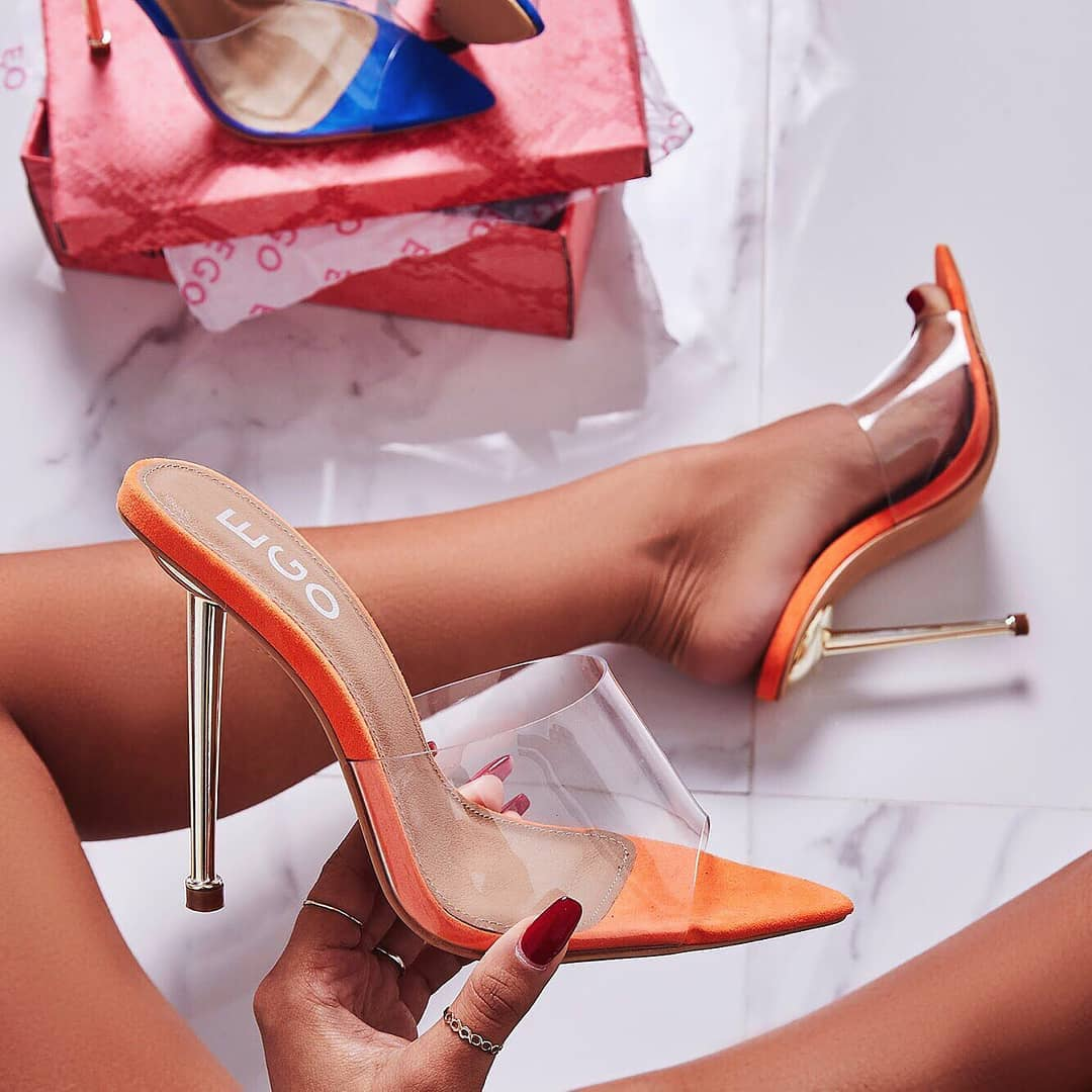 KingKing Perspex Pointed Peep Toe Heel Mule In Orange Suede