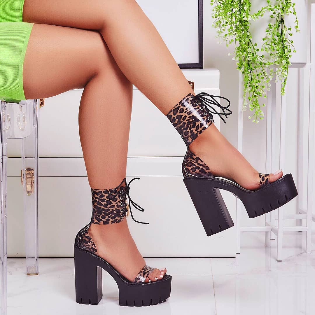 Frenzy Lace Up Leopard Print Perspex Platform Block Heel In Black