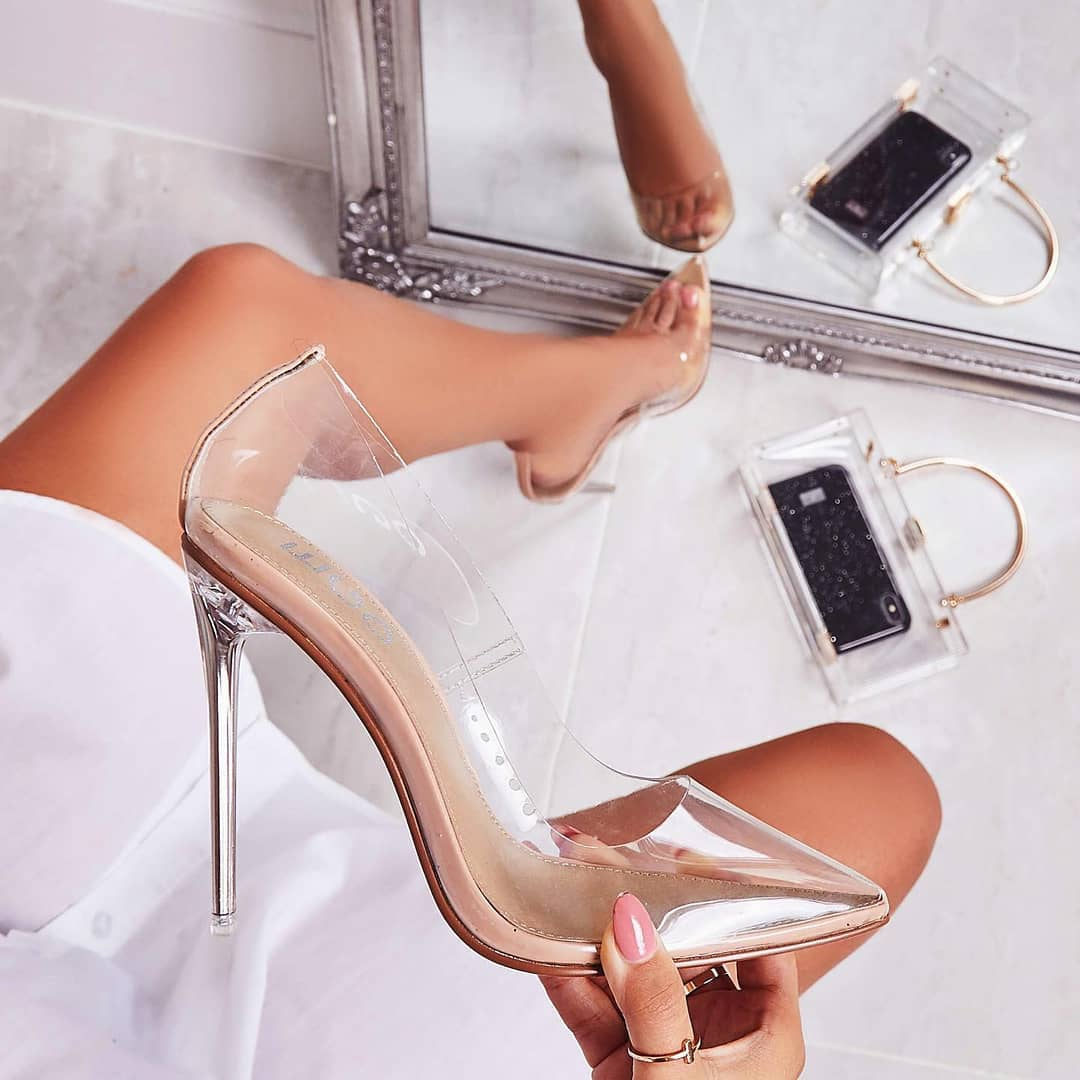 Farrah Perspex Court Clear Heel In Nude Patent