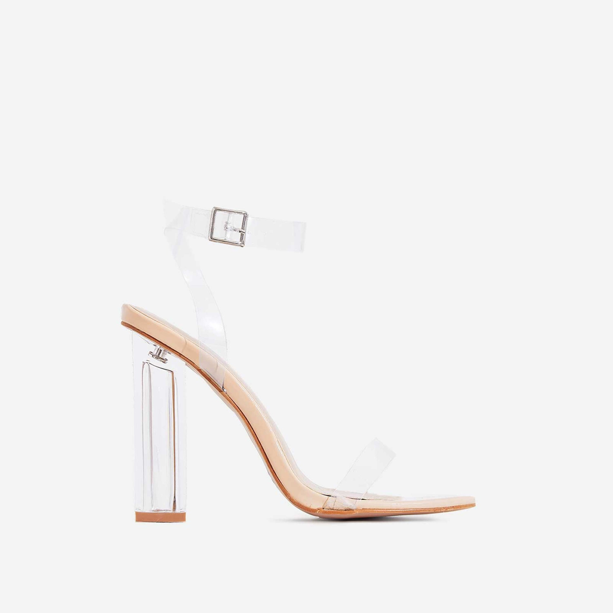Mercie Barely There Perspex Block Heel In Nude Patent
