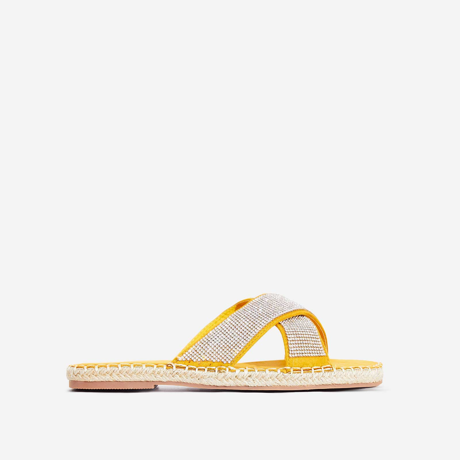 Queen Diamante Detail Espadrille Flat Sandal In Yellow Faux Suede