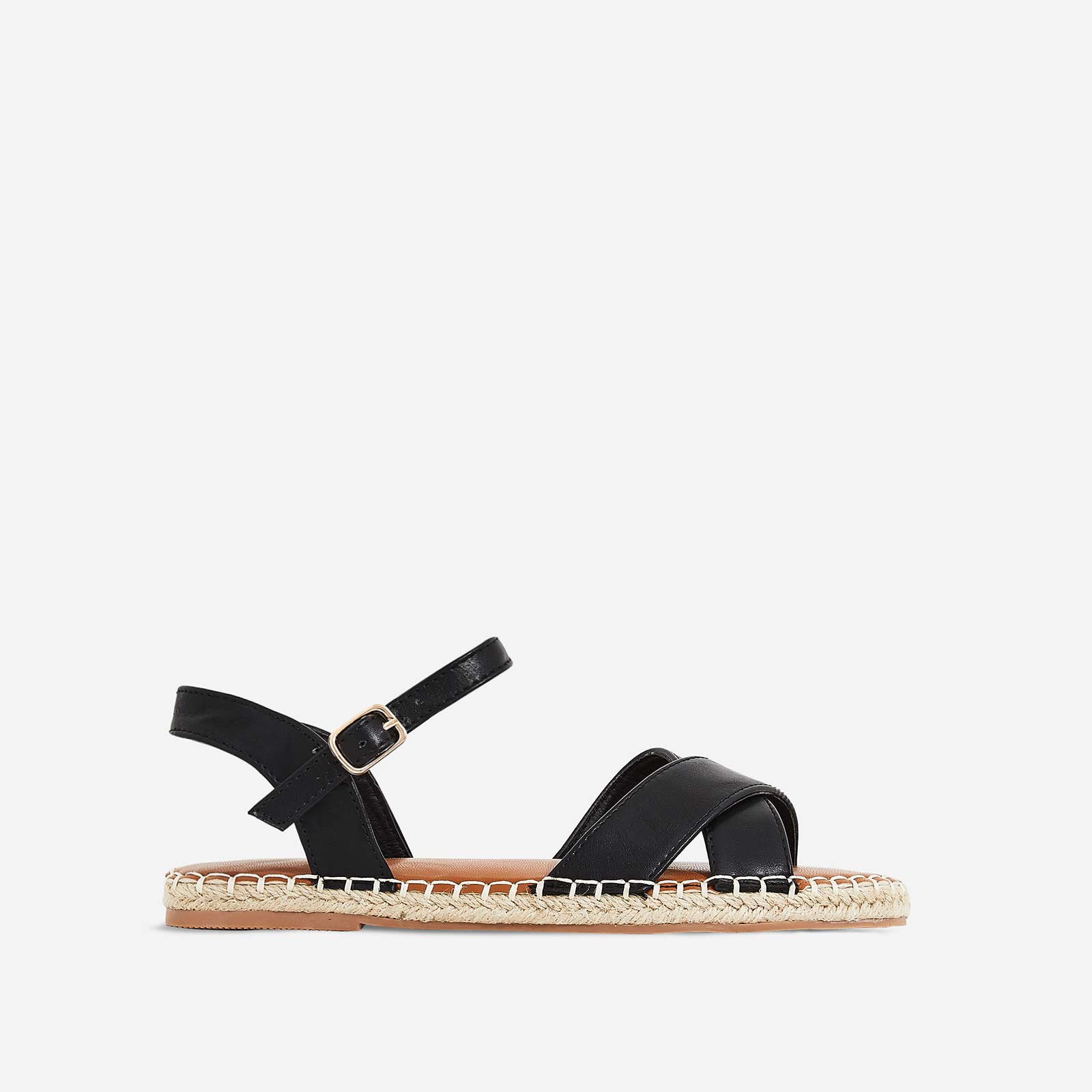 Mirren Espadrille Flat Sandal In Black Faux Leather