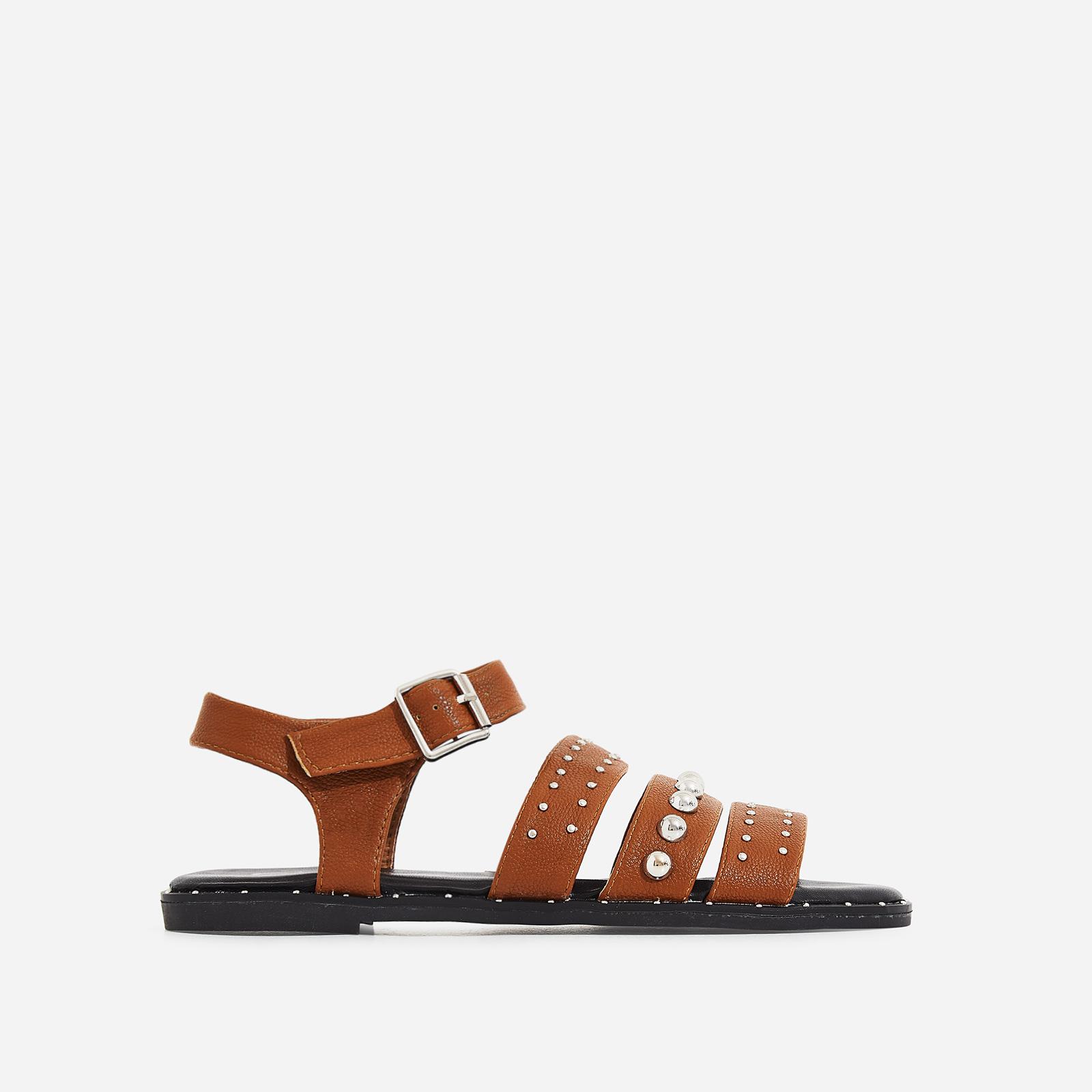 Elara Studded Detail Sandal In Tan Faux Leather