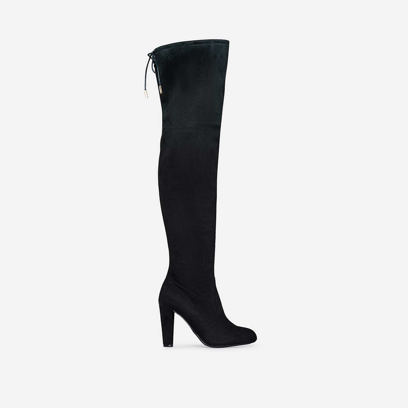 Leia Over The Knee Long Boot In Black Faux Suede