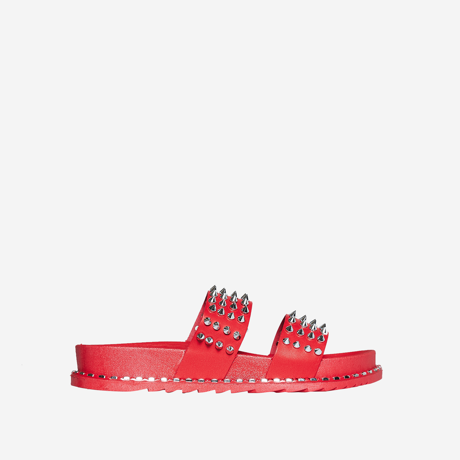 Ray Studded Detail Slider In Red Rubber