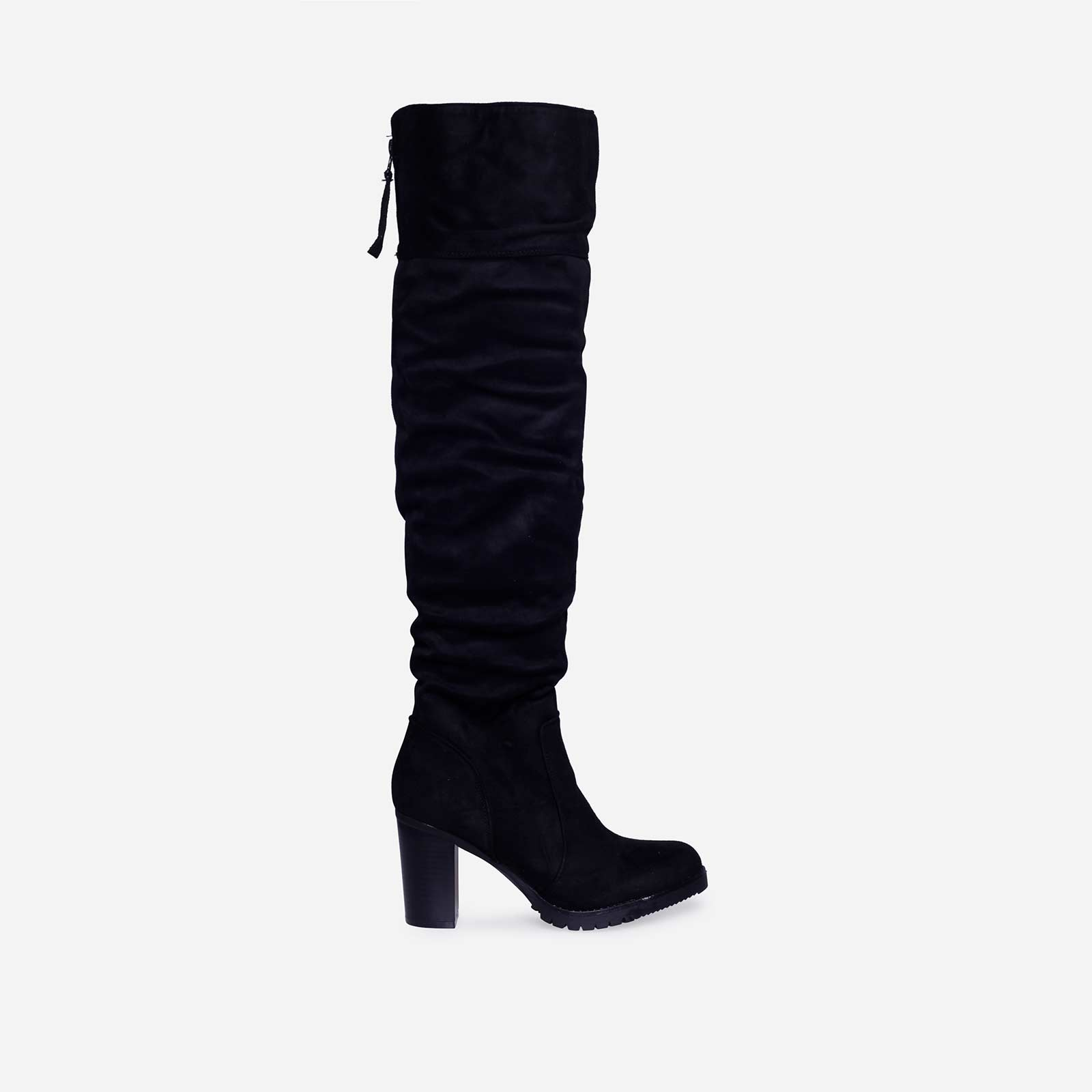 Ruth Block Heel Long Boot In Black Faux Suede