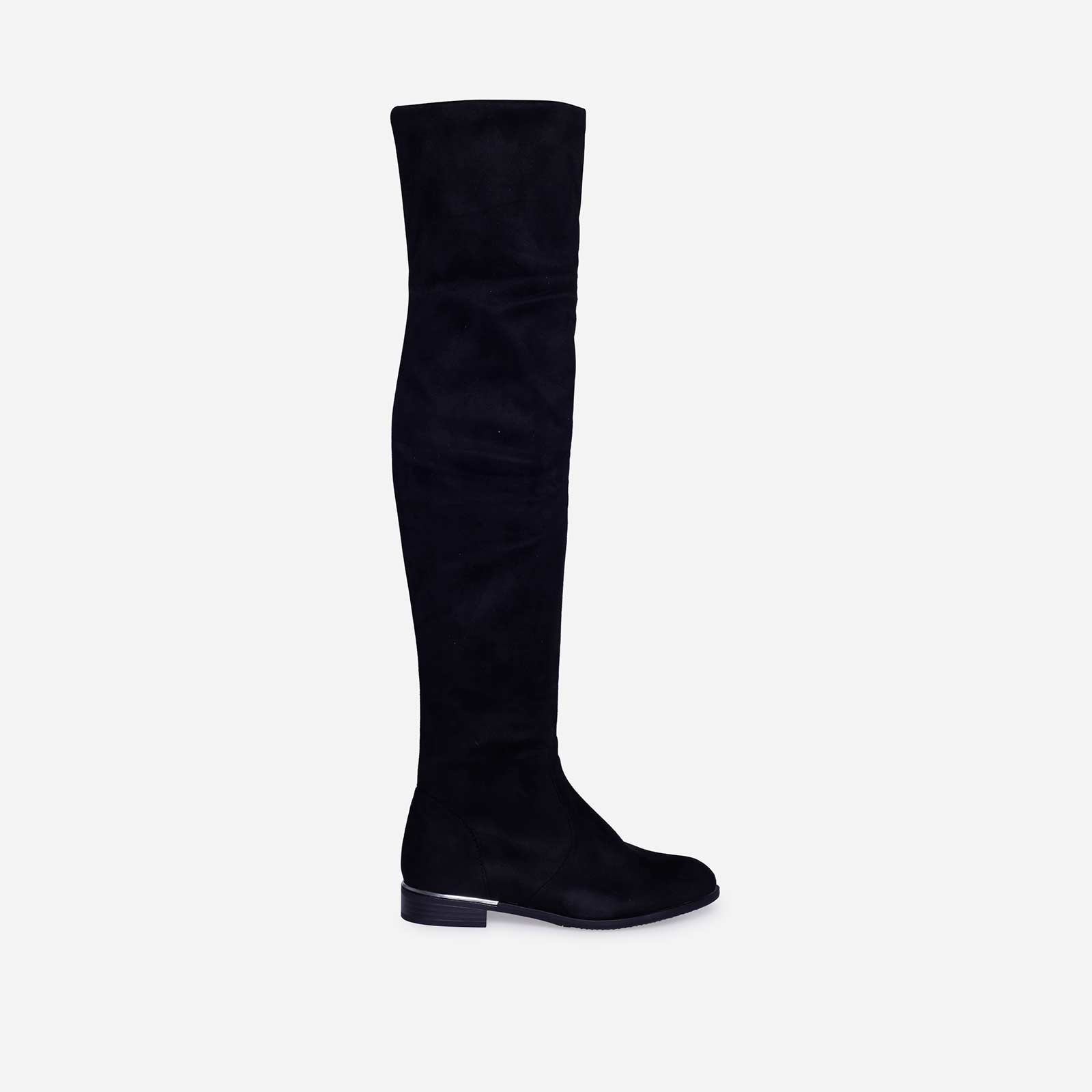 Juliet Long Boot In Black Faux Suede