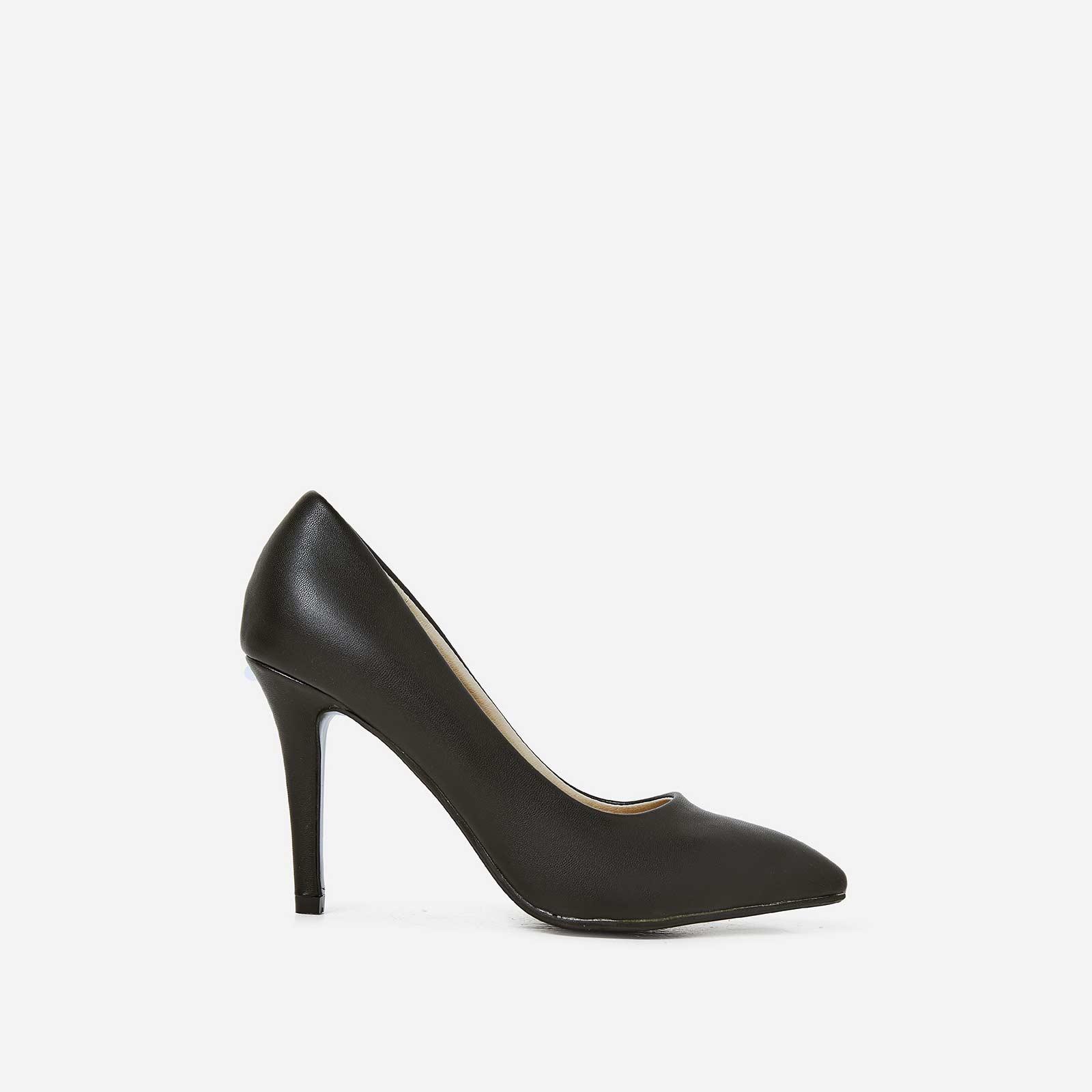 Violet Court Heel In Black Faux Leather