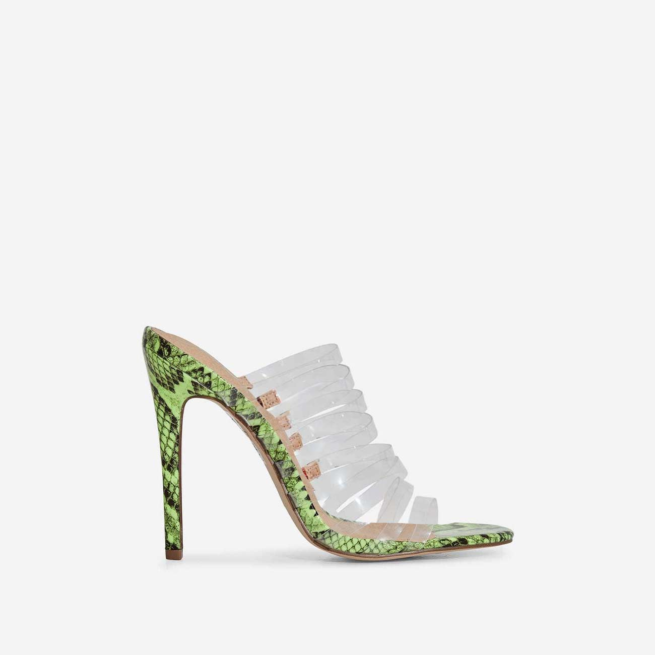 Abby Multi Strap Perspex Heel Mule In Lime Green Snake Print Faux Leather