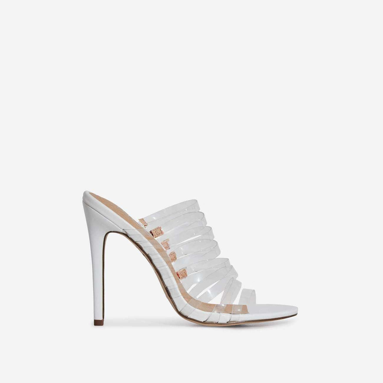 Abby Multi Strap Perspex Heel Mule In White Faux Leather