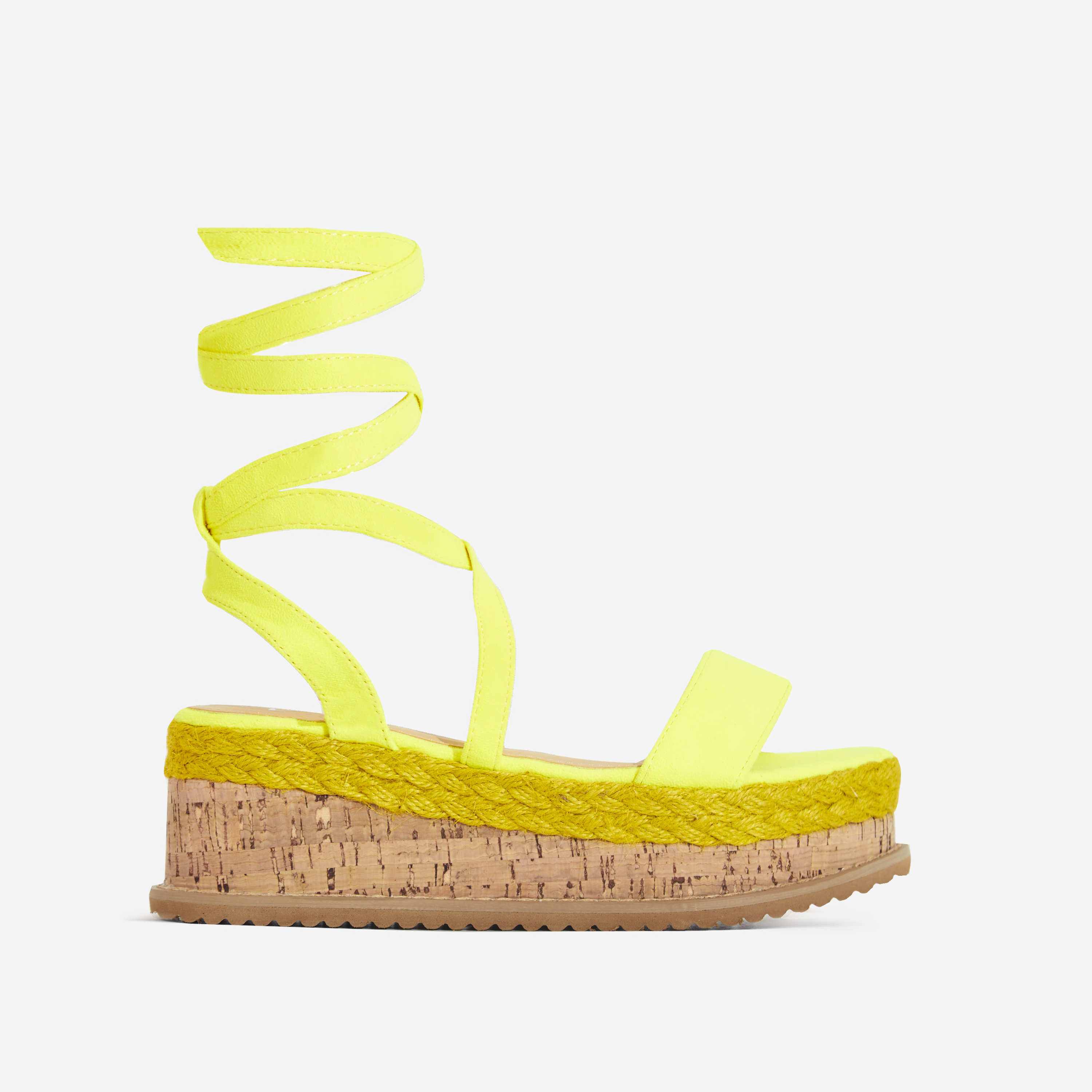 Abigail Strappy Espadrille Flatform In Neon Yellow Faux Suede
