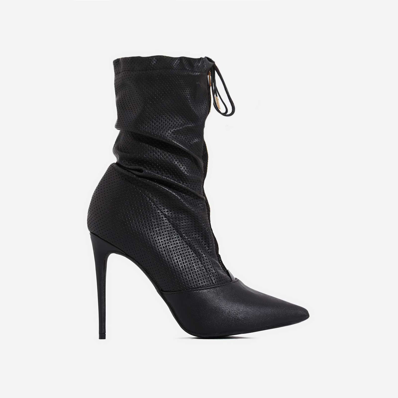 Absolute Slouched Zip Detail Ankle Boot In Black Faux Leather