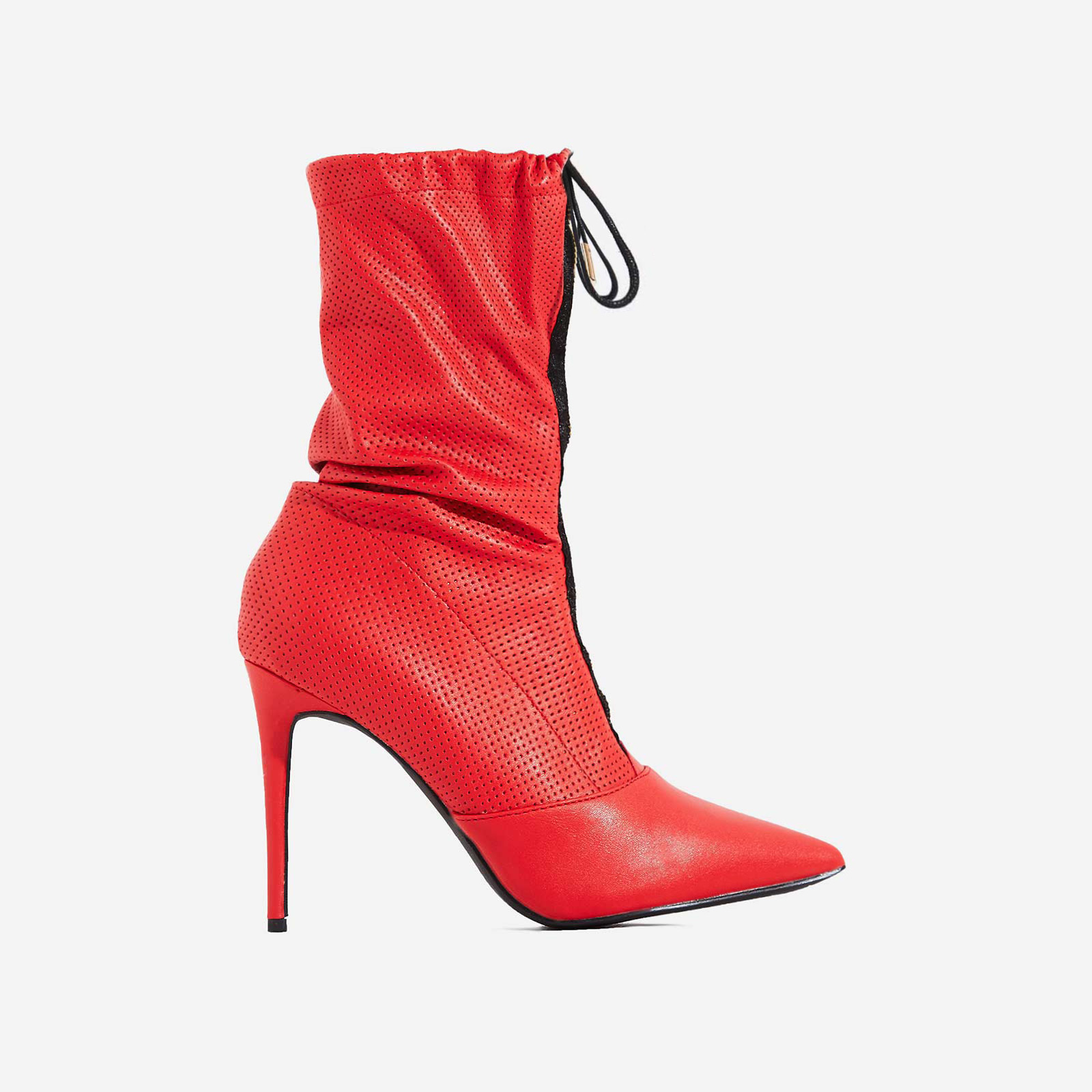 Absolute Slouched Zip Detail Ankle Boot In Red Faux Leather