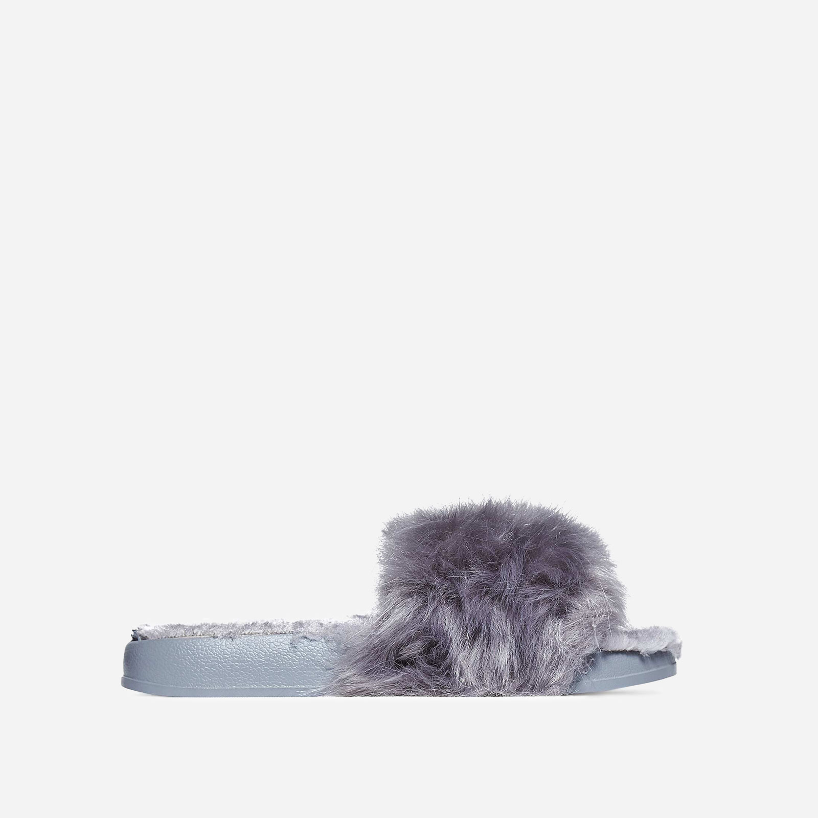 Amil Faux Fur Lined Grey Rubber Slider With Fluffy Trim
