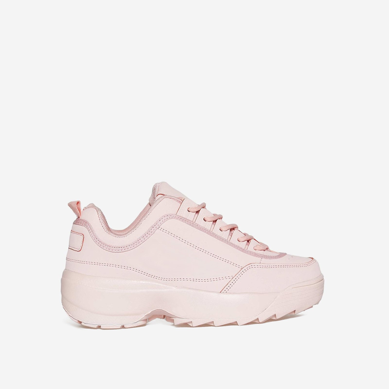 James Chunky Trainer In All Pink Faux Leather