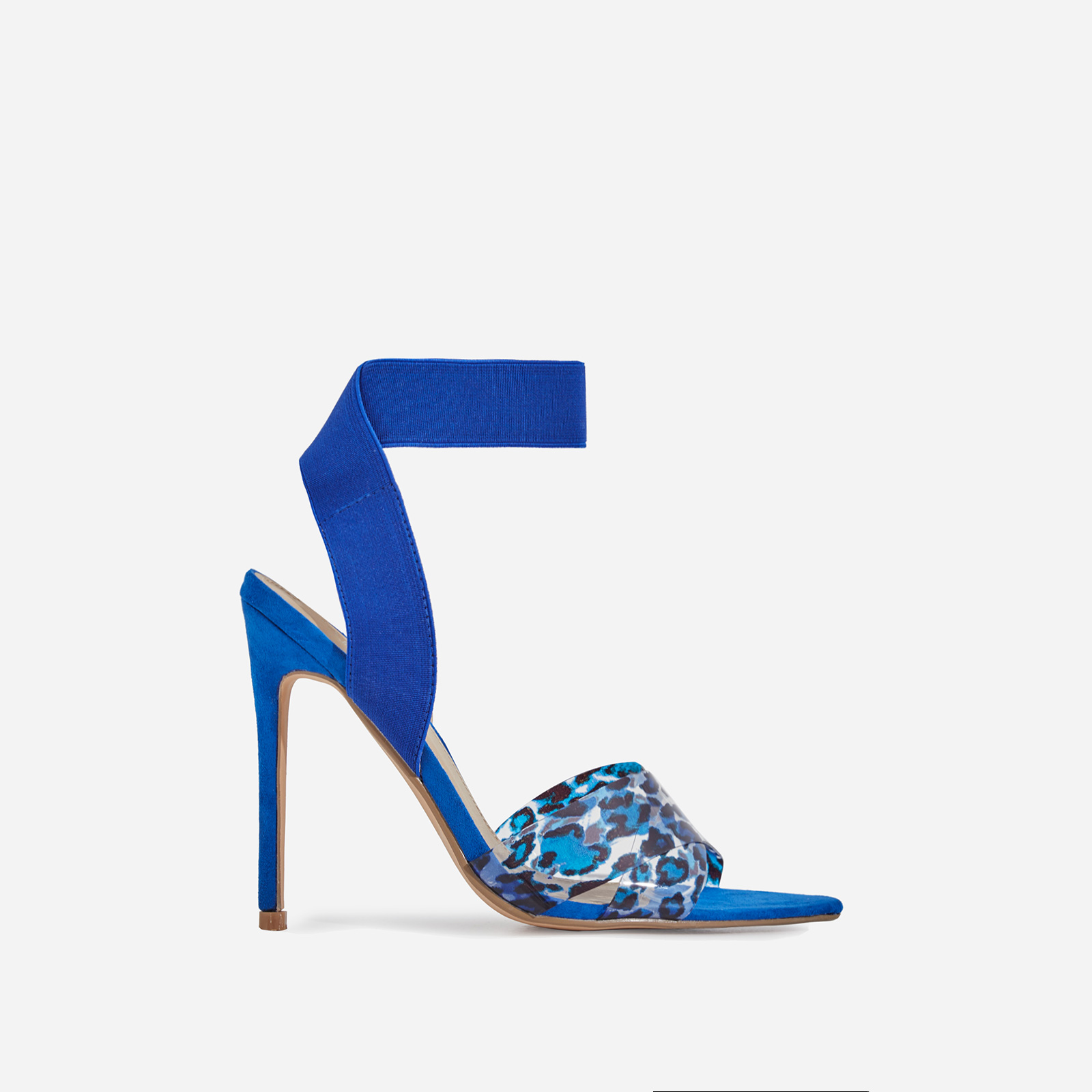 Adair Animal Print Perspex Detail Elasticated Heel In Blue Faux Suede