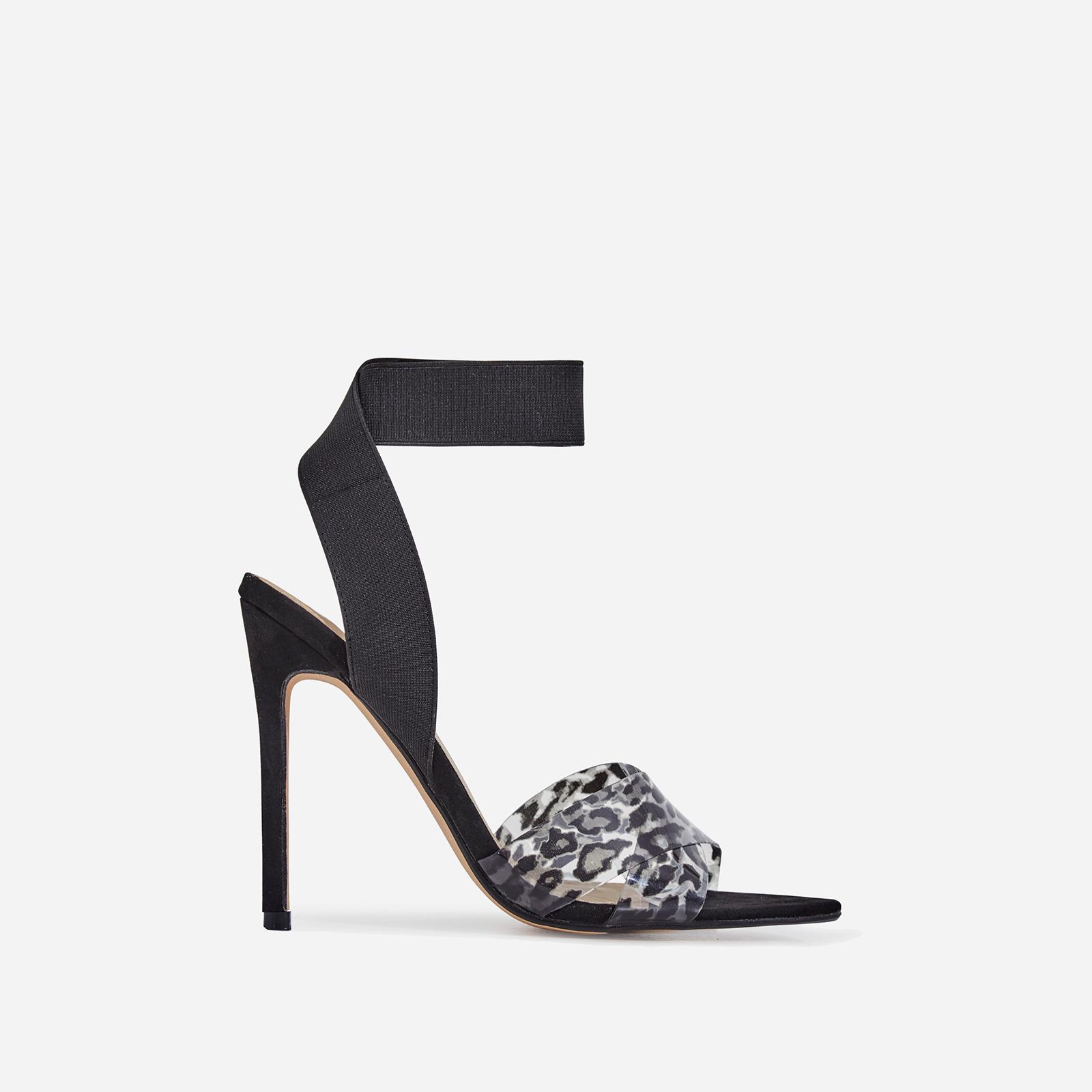 Adair Animal Print Perspex Detail Elasticated Heel In Black Faux Suede