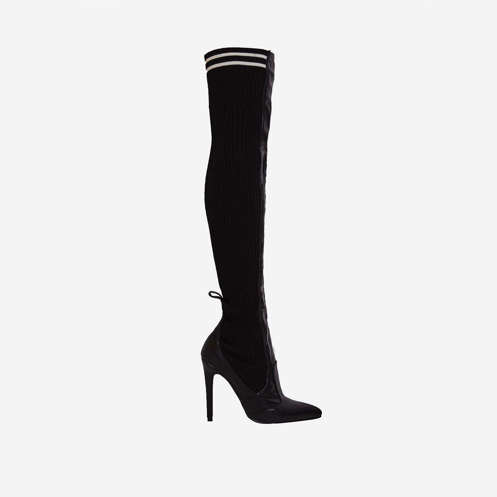 Addicted Knitted Over The Knee Long Boot In Black Faux Leather